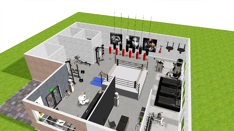 3d Floorplan Of Boxing Gym